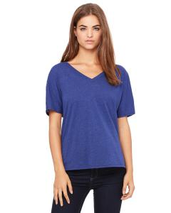 Navy Triblend Women's' Flowy Simple V-Neck T-Shirt