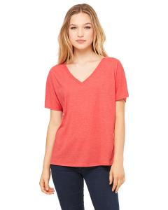 Red Triblend Women's' Flowy Simple V-Neck T-Shirt
