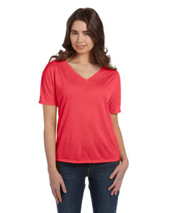 Coral Women's' Flowy Simple V-Neck T-Shirt