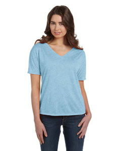 Blue Marble Women's' Flowy Simple V-Neck T-Shirt