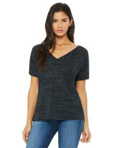 Black Marble Women's' Flowy Simple V-Neck T-Shirt