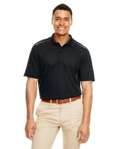 Black Men's Radiant Performance Piqu Polo withReflective Piping