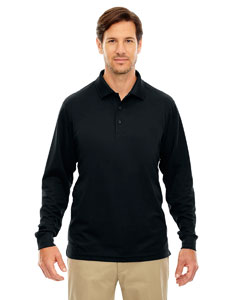 Black 703 Men's Pinnacle Performance Long-Sleeve Piqué Polo