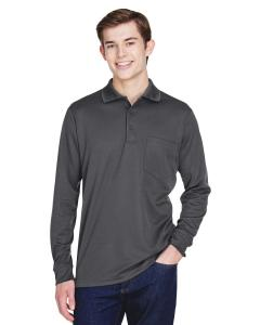 Carbon Adult Pinnacle Performance Long-Sleeve Pique Polo with Pocket
