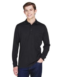 Black Adult Pinnacle Performance Long-Sleeve Pique Polo with Pocket