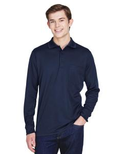 Classic Navy Adult Pinnacle Performance Long-Sleeve Pique Polo with Pocket