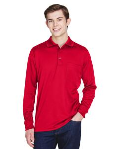 Classic Red Adult Pinnacle Performance Long-Sleeve Pique Polo with Pocket