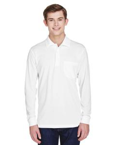 White Adult Pinnacle Performance Long-Sleeve Pique Polo with Pocket