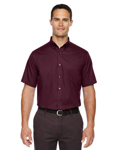 Burgundy 060 Men's Optimum Short-Sleeve Twill Shirt