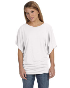 White Ladies'  Flowy Draped Sleeve Dolman T-Shirt