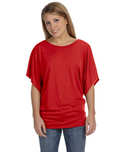 Red Ladies'  Flowy Draped Sleeve Dolman T-Shirt