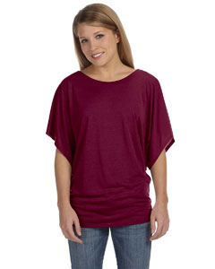 Maroon Ladies'  Flowy Draped Sleeve Dolman T-Shirt