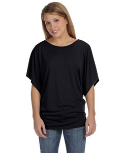 Black Ladies'  Flowy Draped Sleeve Dolman T-Shirt