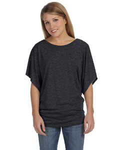 Dark Grey Heather Ladies'  Flowy Draped Sleeve Dolman T-Shirt