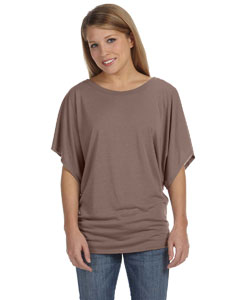 Pebble Brown Ladies'  Flowy Draped Sleeve Dolman T-Shirt