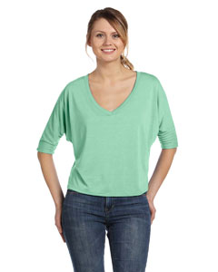 Mint Women's Flowy Half-Sleeve V-Neck T-Shirt