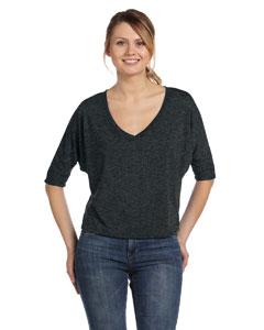 Dark Grey Heather Women's Flowy Half-Sleeve V-Neck T-Shirt