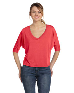 Coral Women's Flowy Half-Sleeve V-Neck T-Shirt