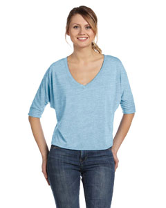 Blue Marble Women's Flowy Half-Sleeve V-Neck T-Shirt