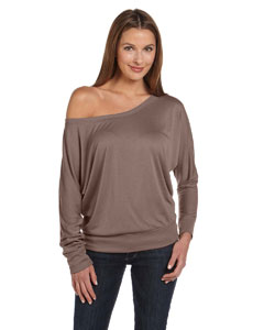 Pebble Brown Women's Flowy Long-Sleeve Off Shoulder T-Shirt