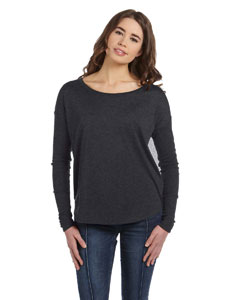 Dark Grey Heather Women's Flowy Long-Sleeve T-Shirt with 2x1 Sleeves