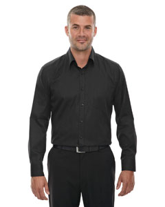 Black 703 Men's Wrinkle-Free Two-Ply 80's Cotton Taped Stripe Jacquard Shirt