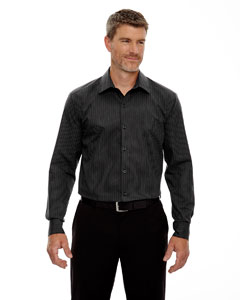 Black 703 Men's Boardwalk Wrinkle-Free Two-Ply 80's Cotton Striped Tape Shirt