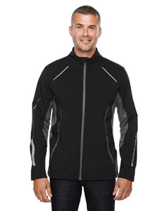 Black 703 Men's Pursuit Three-Layer Light Bonded Hybrid Soft Shell Jacket with Laser Perforation