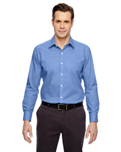 Ink Blue 460 Men's Precise Wrinkle-Free Two-Ply 80's Cotton Dobby Taped Shirt