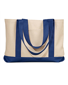 Natural/navy Leeward Canvas Tote