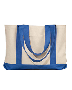 Natural/royal Leeward Canvas Tote