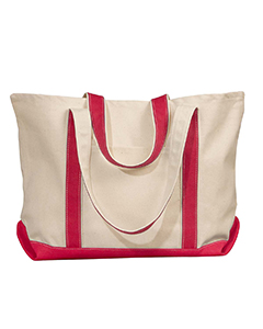 Natural/red Carmel Canvas Tote