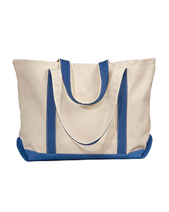Natural/royal Carmel Canvas Tote