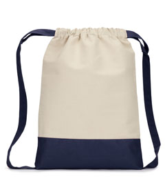 Natural/ Navy Cape Cod Cotton Drawstring Backpack