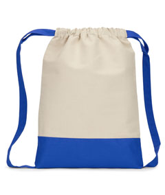Natural/ Royal Cape Cod Cotton Drawstring Backpack