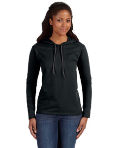Black/dark Grey Ladies' Ringspun Long-Sleeve Hooded T-Shirt