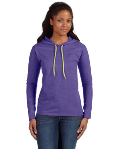 Hth Blu/neon Yel Ladies' Ringspun Long-Sleeve Hooded T-Shirt