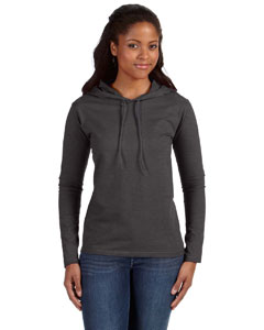 Hth Dk Gy/dk Gy Ladies' Ringspun Long-Sleeve Hooded T-Shirt