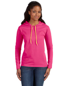 Hot Pink/neo Yel Ladies' Ringspun Long-Sleeve Hooded T-Shirt