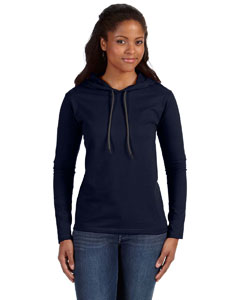 Navy/dark Grey Ladies' Ringspun Long-Sleeve Hooded T-Shirt