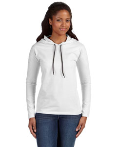 White/dark Grey Ladies' Ringspun Long-Sleeve Hooded T-Shirt