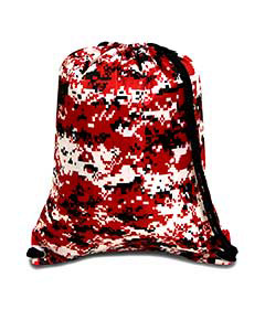 Digial Camo Red Boston Drawstring Backpack