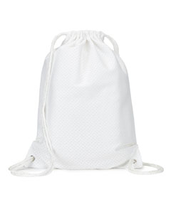 White Jersey Mesh Drawstring Backpack