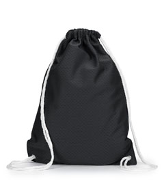 Black Jersey Mesh Drawstring Backpack