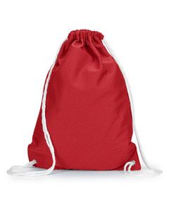 Red Jersey Mesh Drawstring Backpack