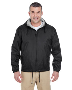 Black Adult Fleece-Lined Hooded Jacket