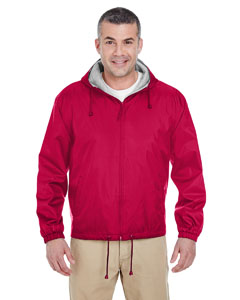 Red Adult Fleece-Lined Hooded Jacket