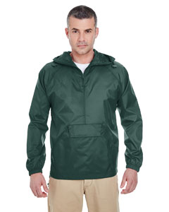 Forest Green Adult 1/4-Zip Hooded Pullover Pack-Away Jacket