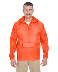 Bright Orange Adult 1/4-Zip Hooded Pullover Pack-Away Jacket