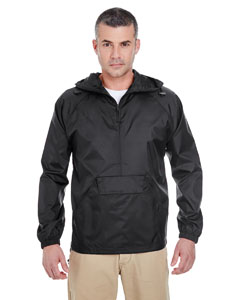 Black Adult 1/4-Zip Hooded Pullover Pack-Away Jacket